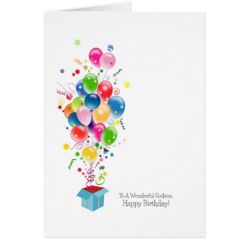 Tarjetas de cumpleaños del ahijado, globos colorid