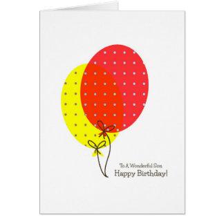 Tarjetas de cumpleaños del hijo, globos coloridos