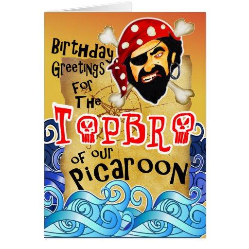 Tarjetas de cumpleaños del pirata para los hermano