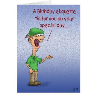 Tarjetas de cumpleaños divertidas: Etiqueta del cu