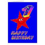 Tarjetas de cumpleaños felices de la estrella roja