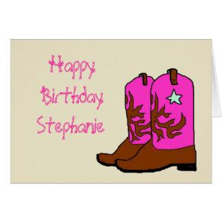 Tarjetas de cumpleaños rosadas de la vaquera