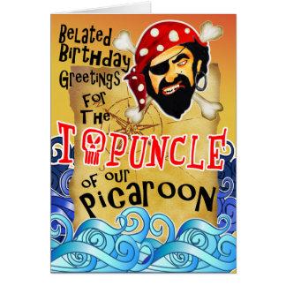 Tarjetas de cumpleaños tardías del pirata para el