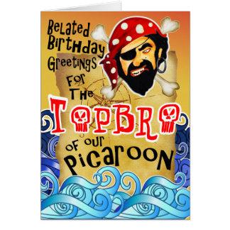 Tarjetas de cumpleaños tardías del pirata para los