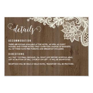 Tarjetas de detalles rústicas de madera y del