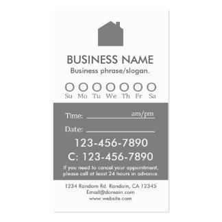 Tarjetas de encargo de la cita de las propiedades tarjetas de visita