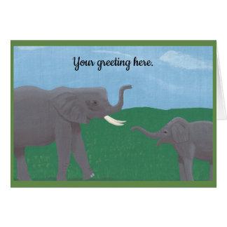 Tarjetas de felicitación de los elefantes de la