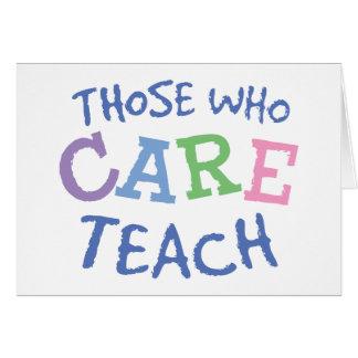 Tarjetas de felicitación del cuidado de los profes