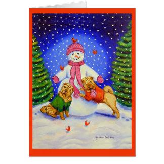 Tarjetas de felicitación del navidad de SharPei