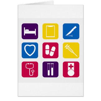 Tarjetas de felicitación médicas de los iconos
