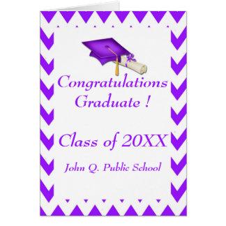 Tarjetas de felicitación púrpuras de la graduación
