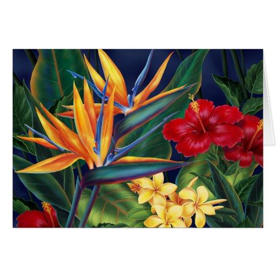 Tarjetas de felicitación tropicales del paraíso