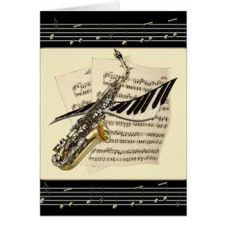 Tarjetas de felicitaciones del saxofón y de la