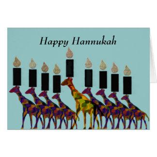 Tarjeta Tarjetas de Hannukah Menorah de la jirafa