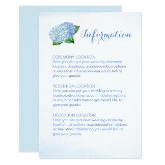 Tarjetas de información azules del boda del