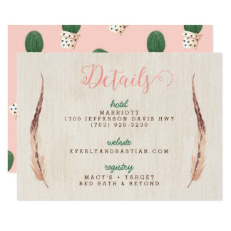 Tarjetas de información del boda del desierto del