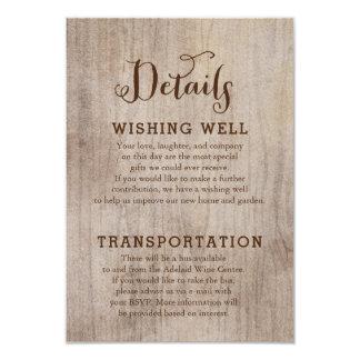 Tarjetas de información rústicas del boda