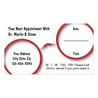 Tarjetas de la cita de la optometría tarjetas de visita