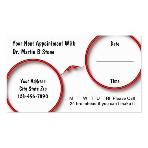 Tarjetas de la cita de la optometría tarjetas personales