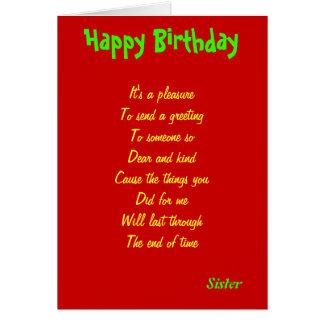 Tarjetas de la clase de un cumpleaños de la herman