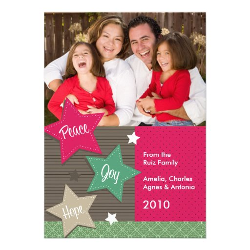Tarjetas de la foto del día de fiesta - paz, alegr invitaciones personalizada