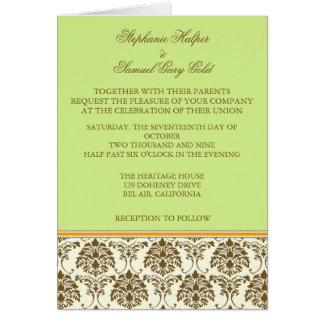 Tarjetas de la invitación del boda del chocolate y