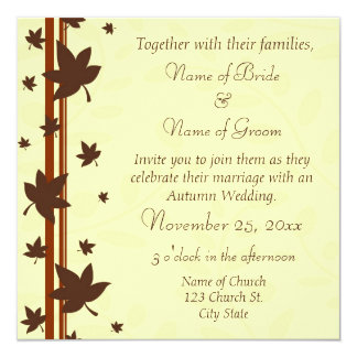 Tarjetas de la invitación del boda del otoño