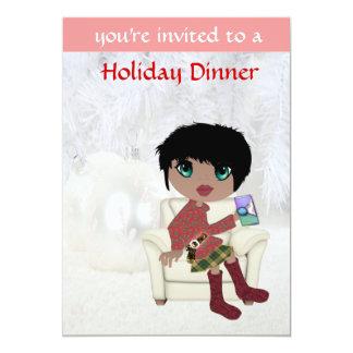 Tarjetas de la invitación del chica del navidad