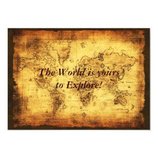 Tarjetas de la invitación del mapa de Viejo Mundo Invitación 12,7 X 17,8 Cm