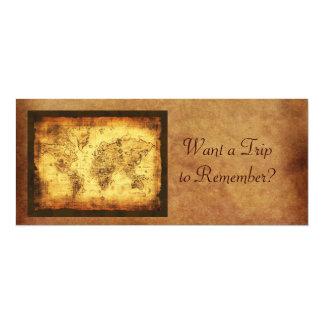 Tarjetas de la invitación del mapa de Viejo Mundo Invitación 10,1 X 23,5 Cm