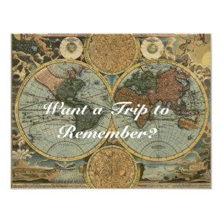Tarjetas de la invitación del mapa de Viejo Mundo Invitación 10,8 X 13,9 Cm