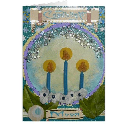 Tarjetas de la luna de la luz de una vela