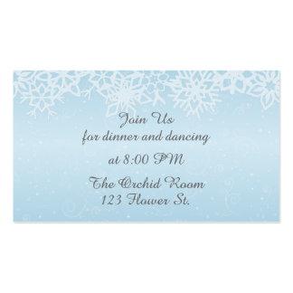 Tarjetas de la recepción de los copos de nieve del tarjetas de visita