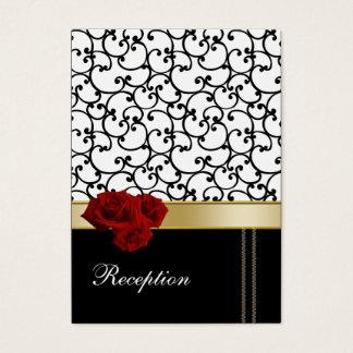 tarjetas de la recepción del damasco de los rosas