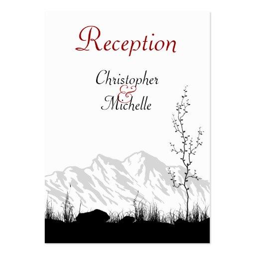 Tarjetas de la recepción nupcial de la montaña de  tarjeta de visita