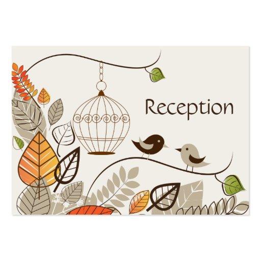 Tarjetas de la recepción nupcial de los pájaros y  plantilla de tarjeta de visita