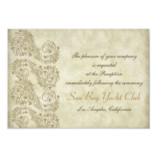 Tarjetas de la recepción nupcial del damasco del invitación 8,9 x 12,7 cm