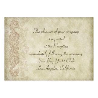 Tarjetas de la recepción nupcial del damasco del v tarjetas de visita grandes