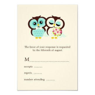Tarjetas de la respuesta de los búhos del boda invitación 8,9 x 12,7 cm