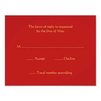 Tarjetas de la respuesta de RSVP del rojo y del Invitación 10,8 X 13,9 Cm