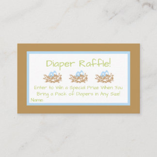 Blue Boy Bird Baby Shower Diaper Raffle Cards