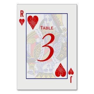 Tarjetas de la tabla de naipe de rey Queen