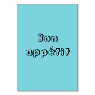 Tarjetas de la tabla del appetit del Bon