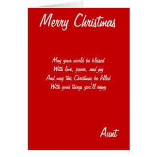 Tarjetas de la tía de las Felices Navidad