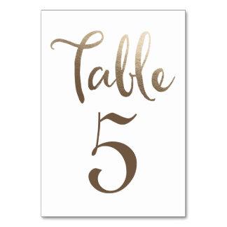 Tarjetas de la tipografía del número de la tabla