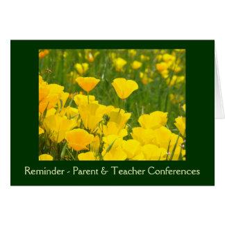 Tarjetas de las conferencias del padre y del profe