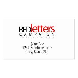 Tarjetas de letras rojas tarjetas de visita