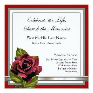 Tarjetas de luto elegantes del rosa rojo invitaciones personales
