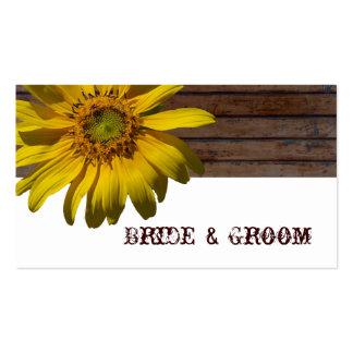 Tarjetas de madera del lugar del país del girasol  tarjetas de visita