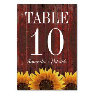 Tarjetas de madera rústicas del número de la tabla